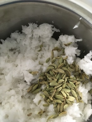 Grind coconut and Fennel seeds