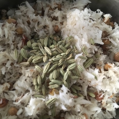 Move the roasted ingredients to a mixer jar add 3/4 tsp fennel
