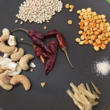 Urad Dal, Channa Dal, Red Chillies, Asafoetida, Ginger, Cashews