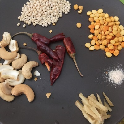 Urad Dal, Channa Dal, Red Chillies, Asafoetida, Ginger, Cashews
