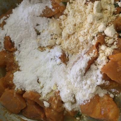 Add the flours - all purpose or maida, cornflour, besan and rice flour