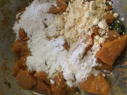 Add the flours - all purpose or maida, cornflour, besan and rice flour