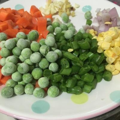 Peas, beans, carrot, potatoes, shallots and garlic