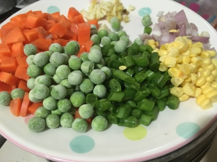Peas, beans, carrot, potatoes, shallots and garlic